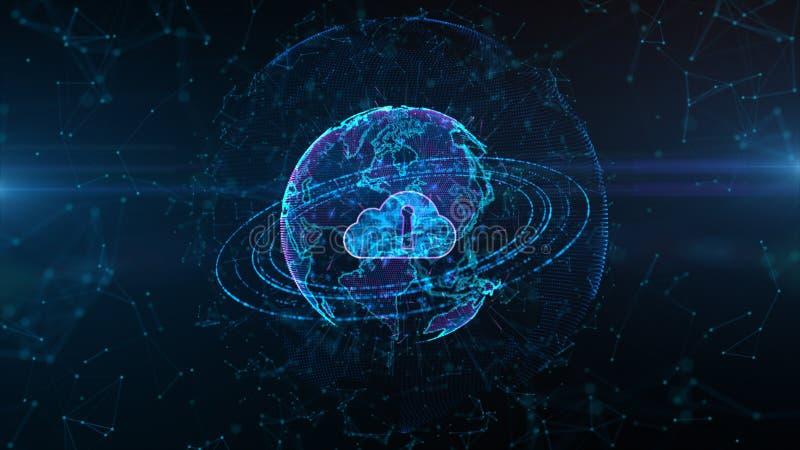 Beveilig de Veiligheidsconcept van Informatienet Digitaal Cloud Computing Cyber r vector illustratie