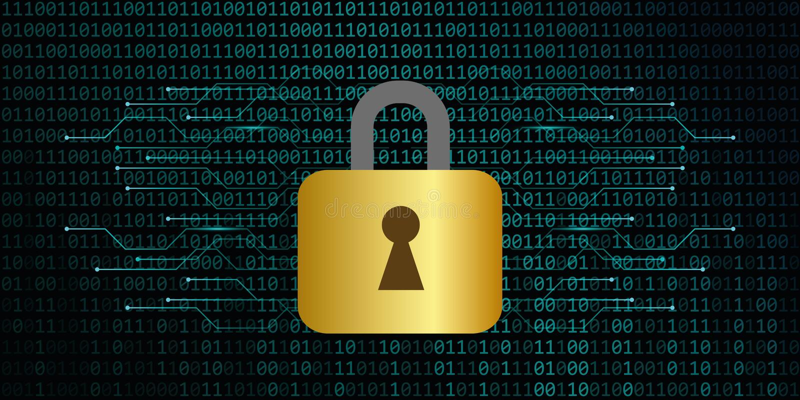 Beveilig digitale dataverbinding met de achtergrond van de slot binaire code royalty-vrije illustratie