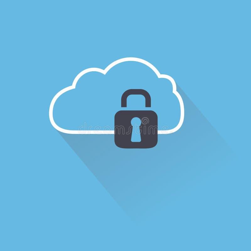 Beveilig digitale wolk met slot royalty-vrije illustratie