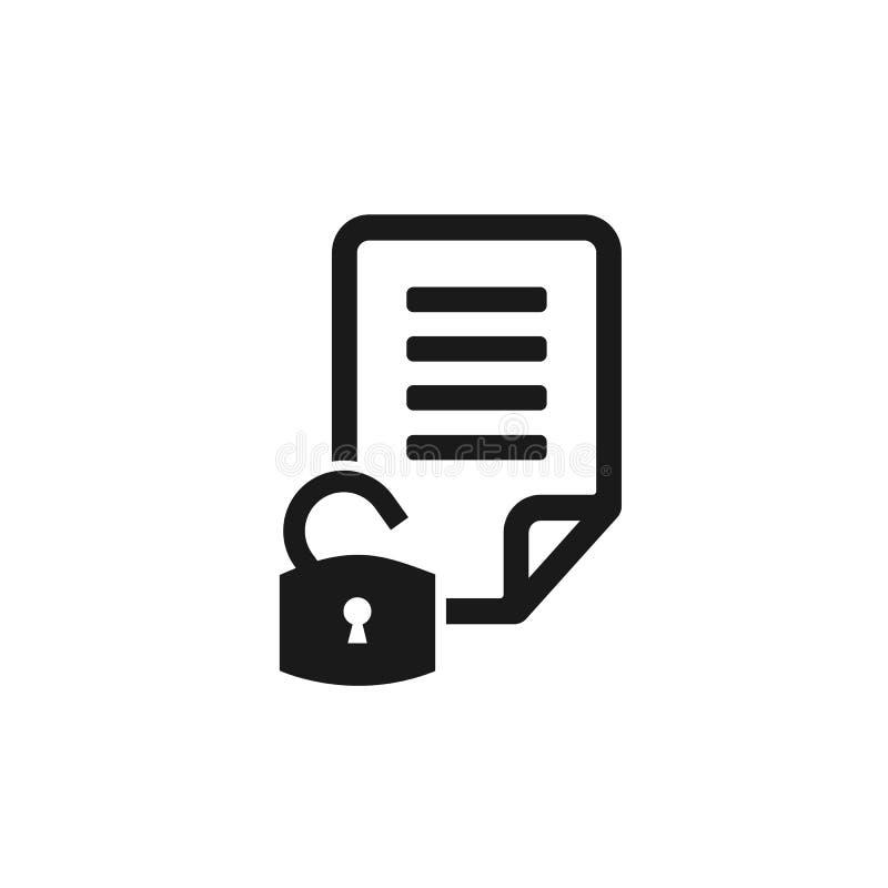 Beveilig documentpictogram Dossierteken Pagina met het symbool van de slotveiligheid Dossiersymbool Vector illustratie Vlak Ontwe royalty-vrije illustratie