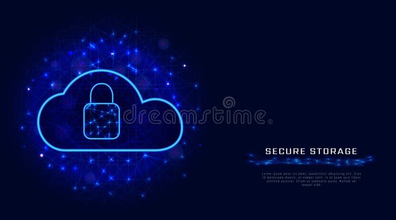 Beveilig het concept van de wolkenopslag Abstracte achtergrond met slot en regeling De technologie van de Cybergegevensbeschermin royalty-vrije illustratie