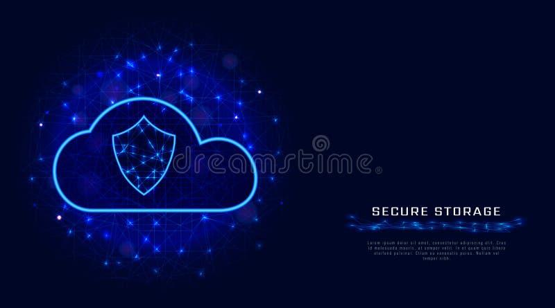 Beveilig het concept van de wolkentechnologie Beschermde digitale gegevensopslag op abstracte geometrische achtergrond Abstracte  stock illustratie