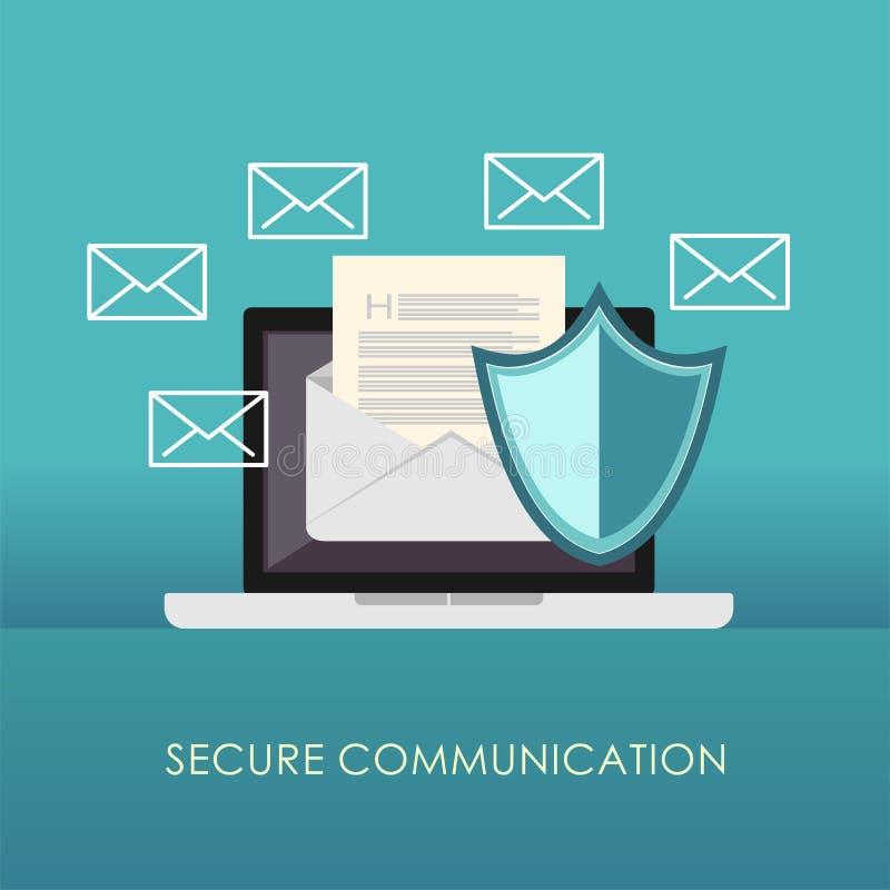 Beveilig mededeling E-mailbescherming Spambescherming stock illustratie