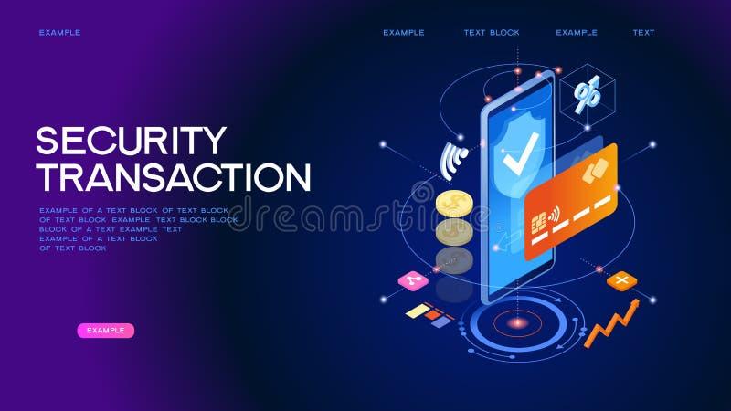 Beveilig online het Webbanner van de betalingstransactie royalty-vrije illustratie