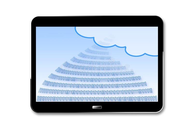 Beveilig opslag op 3D de dienstwolk - geef conceptenbeeld met binaire code en wolk op een digitale tablet op witte achtergrond me stock illustratie