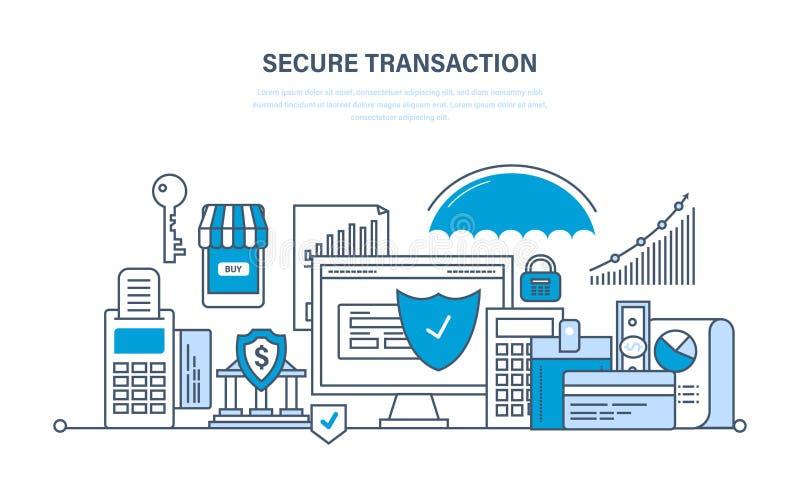 Beveilig transacties en betalingen, waarborgveiligheid van financiële stortingen stock illustratie