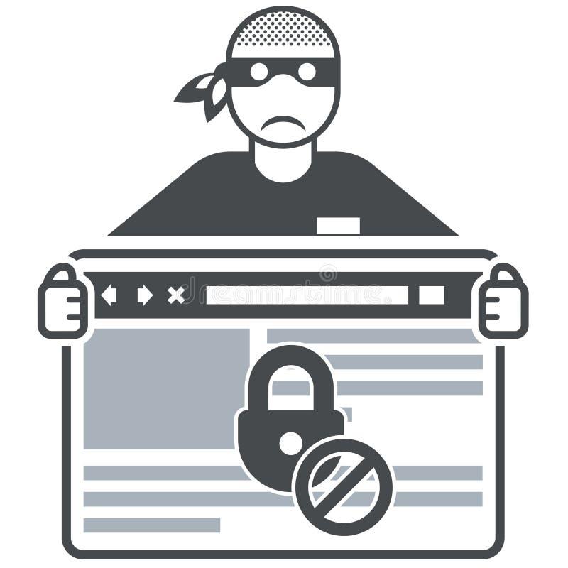 Beveilig website - Internet-zwendelaar (hakker) royalty-vrije illustratie