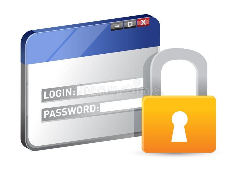 Beveilig websitelogin gebruikend SSL protocol stock illustratie