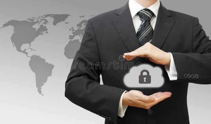 Beveiligd Online Wolk Gegevensverwerkingsconcept met Zaken royalty-vrije stock afbeelding