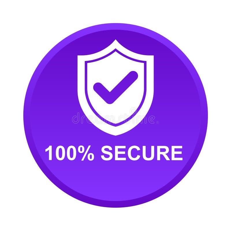 100% beveiligen knoop vector illustratie