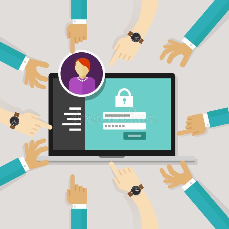 Beveiligend toegang van machtig het wachtwoordlogin van de softwareauthentificatie de veiligheid van het vormsysteem stock illustratie