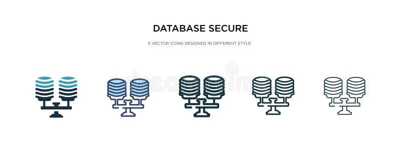 Beveiligingspictogram database in verschillende illustraties van stijlvector twee gekleurde en zwarte gegevensbestand veilige ver stock illustratie