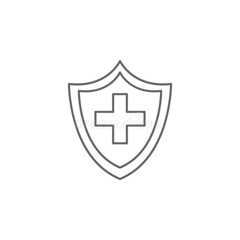 Beveiligingspictogram Pictogram van het geneesmiddel Thin line pictogram royalty-vrije illustratie