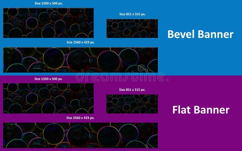 Bevel & Flat Dark Bubble Banner for Youtube, Twitter and Facebook. stock image