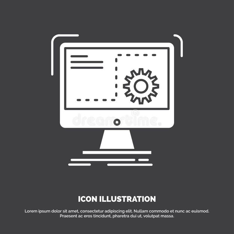 Bevel, computer, functie, proces, vooruitgangspictogram glyph vectorsymbool voor UI en UX, website of mobiele toepassing stock illustratie