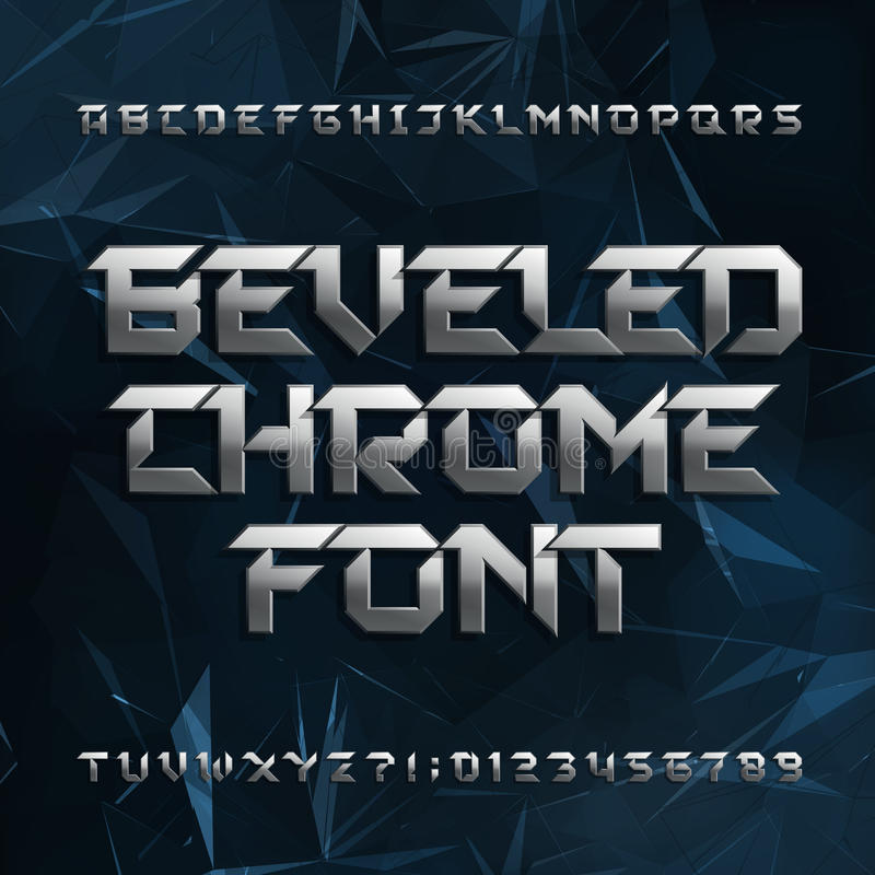 Beveled metal alphabet font. Chrome effect letters and numbers on abstract polygonal background. vector illustration