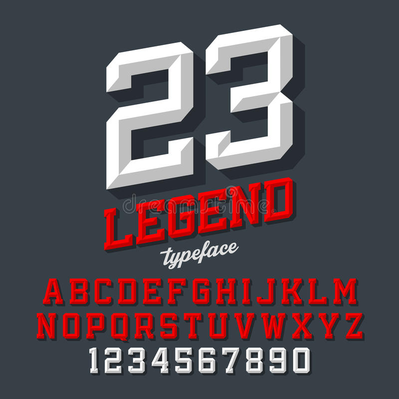 Beveled style font stock illustration