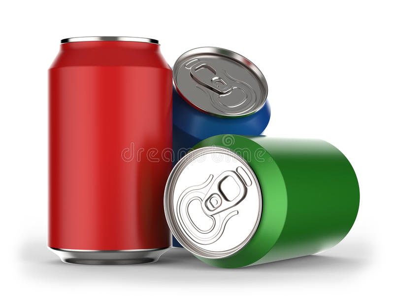 Beverage can. Different colors beverage cans on white background 3D rendering vector illustration