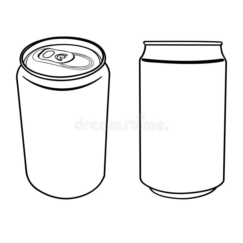 One Line Art Beer : Beverage can outline vector stock illustration of