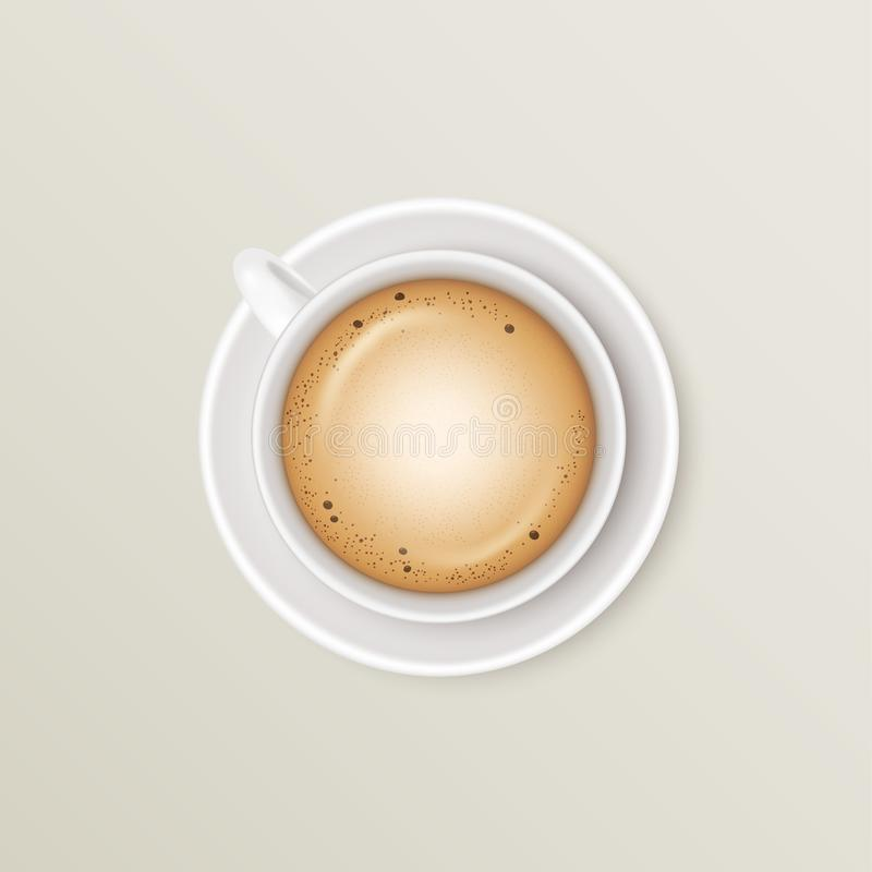 Beverage cappuccino in a white ceramic mug on a round saucer on light background. Realistic vector illustration stock illustration