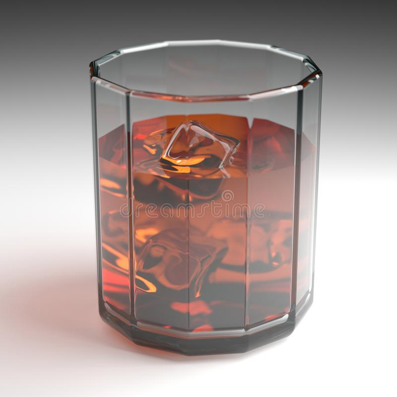 Beverage. Classic glass of cocktail or cognac or whiskey drink with ice cube on white surface. 3D render. 3d illustration. vector illustration