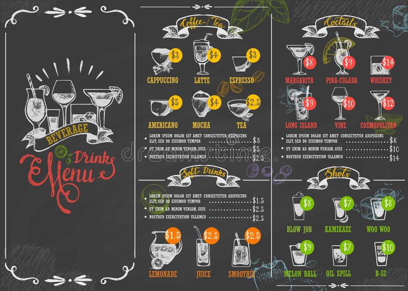 Restaurant menu beverage drink poster chalkboard calligraphic lettering old retro vintage style vector illustration. stock illustration