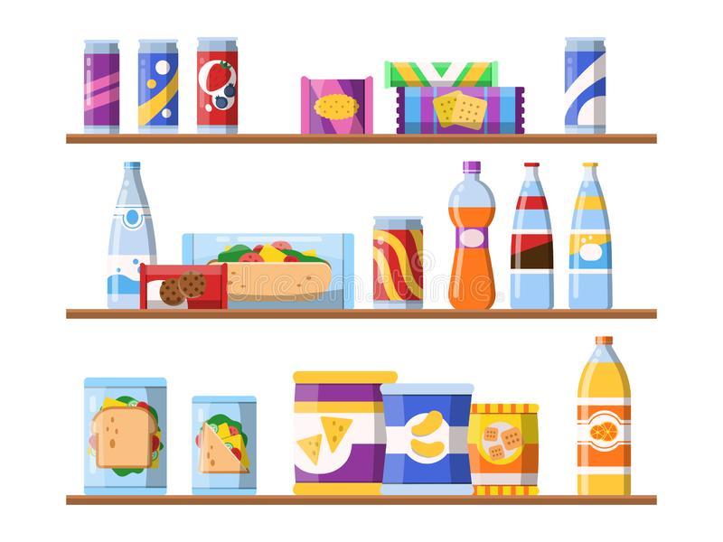 Beverage food on shelves. Fast food snacks biscuits and water standing on showcase vector merchandising concept flat. Illustrations. Food shelf, shop store royalty free illustration