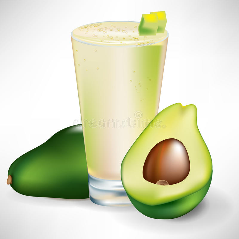 Download Beverage With Fresh Avocado Fruit And Slice Stock Vector - Image: 22439444