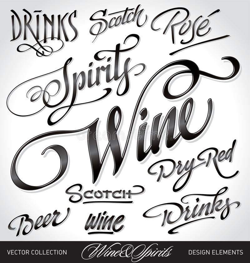 Beverage headlines set (vector) royalty free stock image