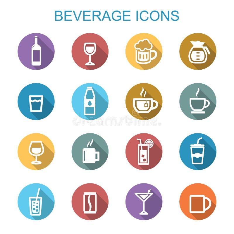 Beverage long shadow icons stock illustration