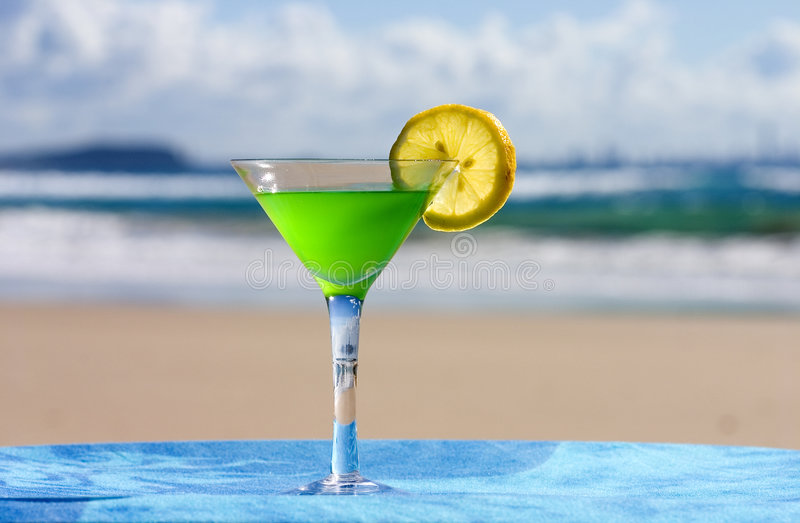 Beverage Series: Cocktail. Cocktail on the beach stock photos