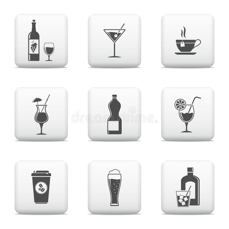 Beverage web buttons set royalty free illustration