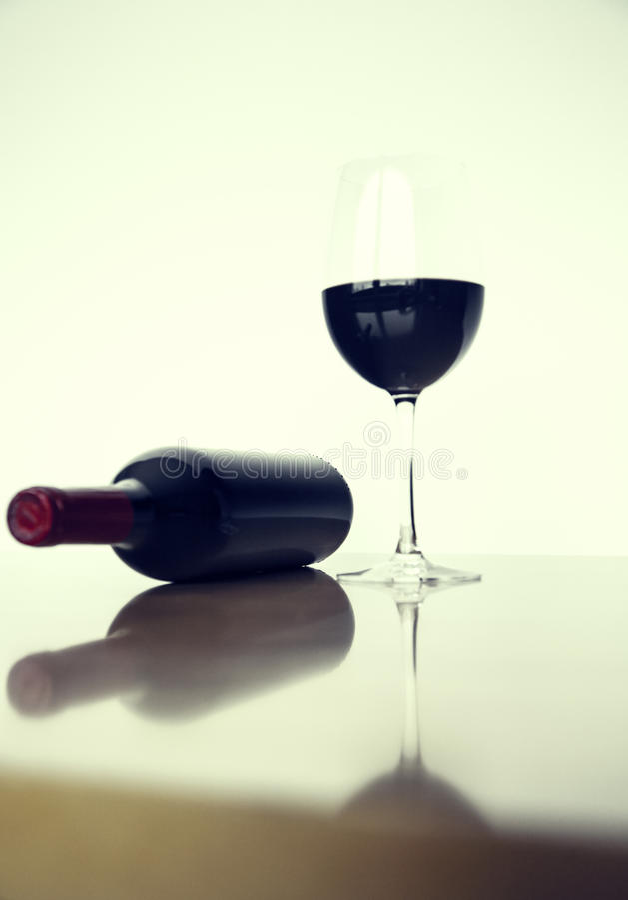 Beverage On Wine Glass Near Glass Bottle Free Public Domain Cc0 Image