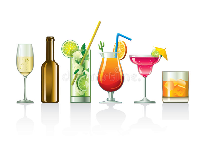 Beverages and cocktails. Illustration of different cocktails and other beverages in different types of glasses and bottles stock illustration