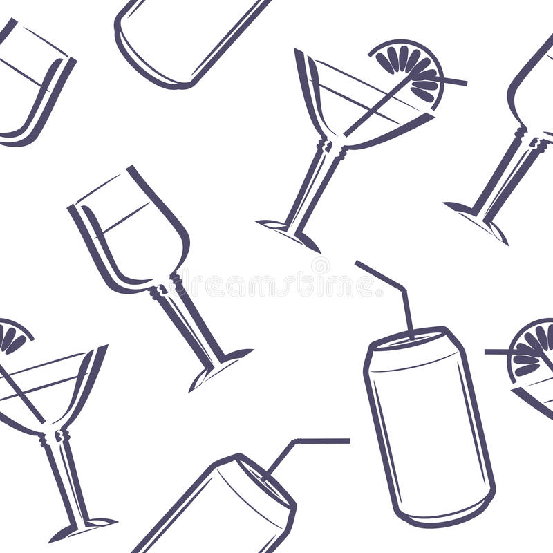 Beverages. Seamless pattern for the menu design stock images