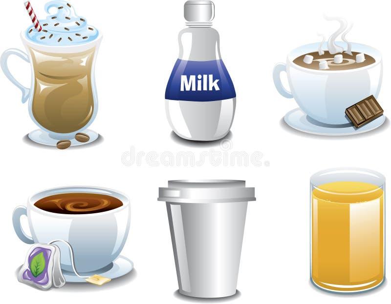 Bevereages del desayuno stock de ilustración
