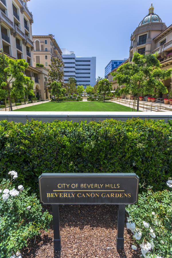Beverly Canon Gardens, Beverly Hills, Los Angeles, California, United States of America, North America. Beverly Hills, USA - May 28 2018: Beverly Canon Gardens royalty free stock photos