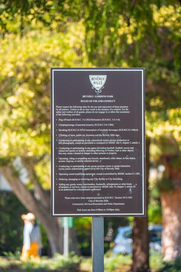 Beverly Gardens Park tecken - KALIFORNIEN, USA - MARS 18, 2019 arkivbild