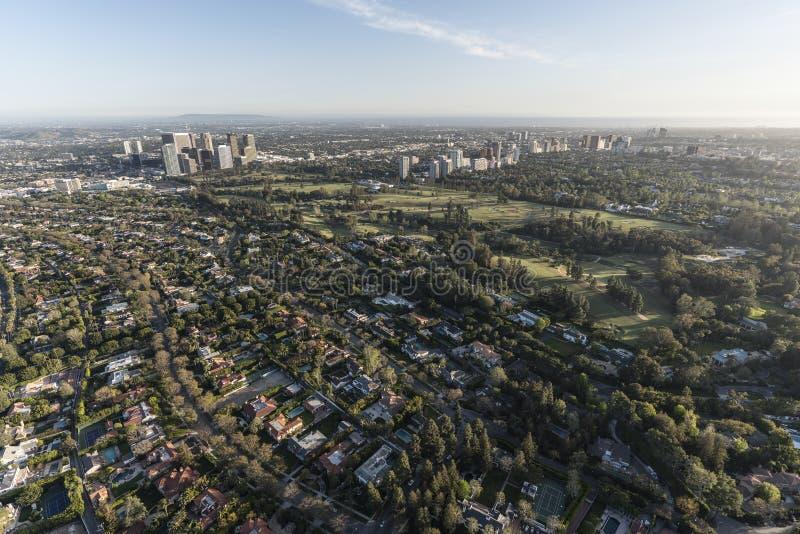 Beverly Hills, århundradestad och Westood Kalifornien antenn arkivfoto