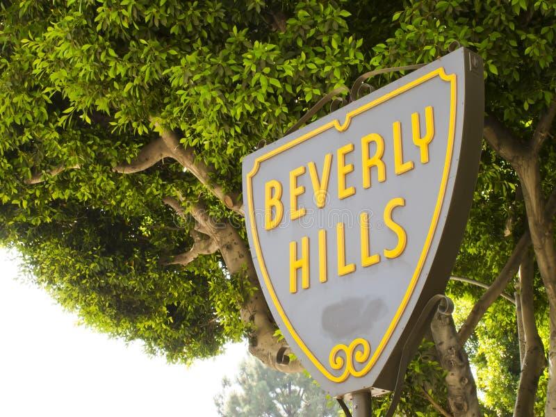 Beverly Hills. CA - Nov 19: The  Shield greets visitors along Santa Monica Blvd on Nov 19, 2010 in , California stock photos