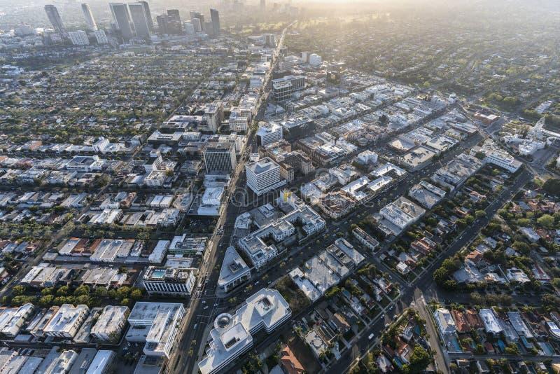 Beverly Hills Aerial i Los Angeles Couty Kalifornien fotografering för bildbyråer