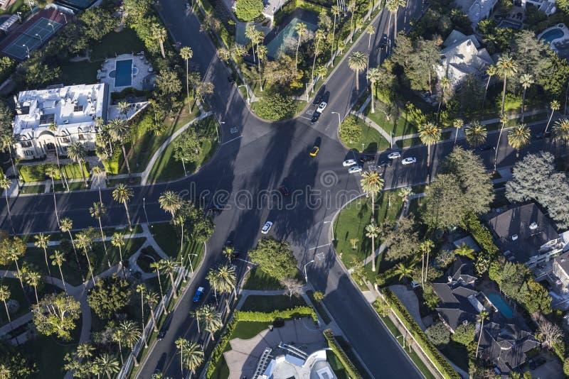 Beverly Hills Aerial Six Way genomskärning royaltyfri foto