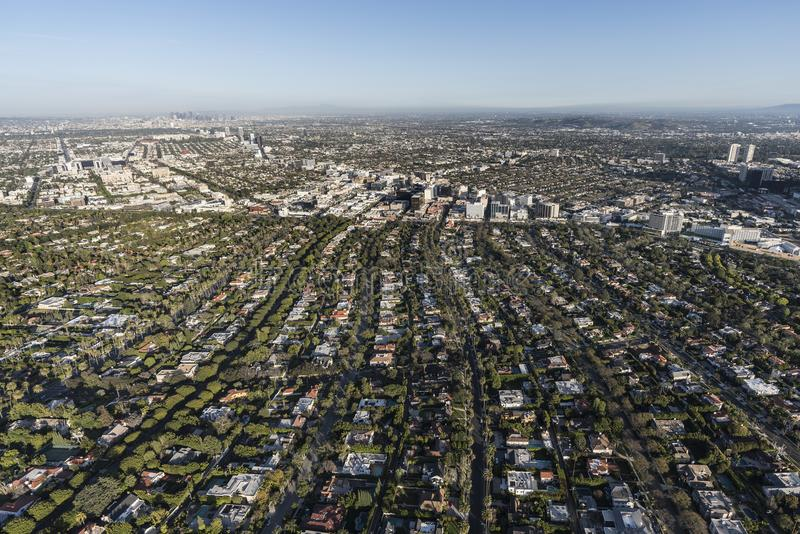 Beverly Hills California Aerial View arkivfoton