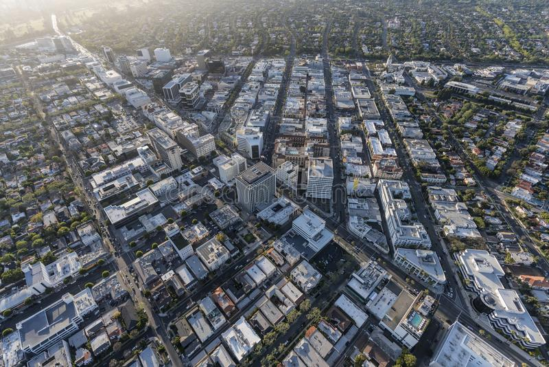 Beverly Hills California Business District Aerial stock photo