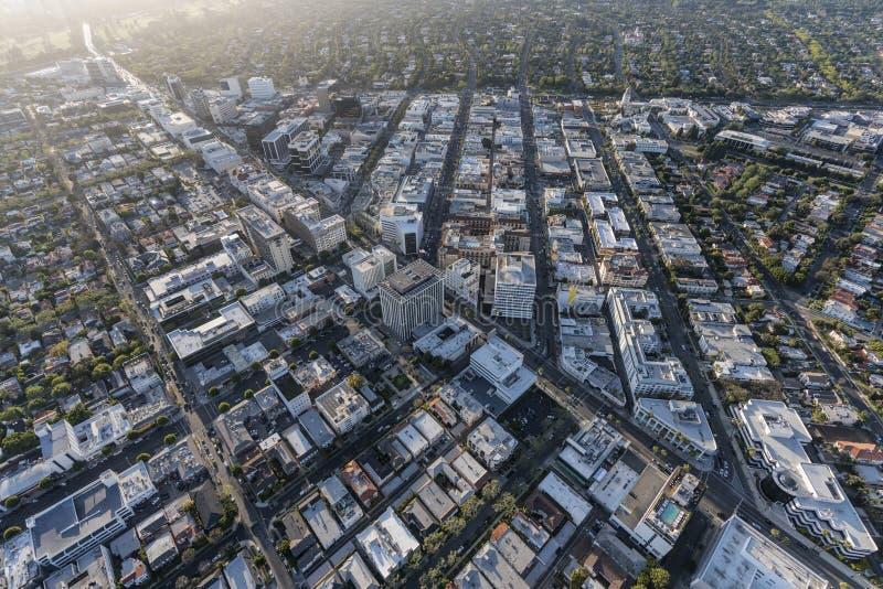 Beverly Hills California Business District antenn arkivfoto