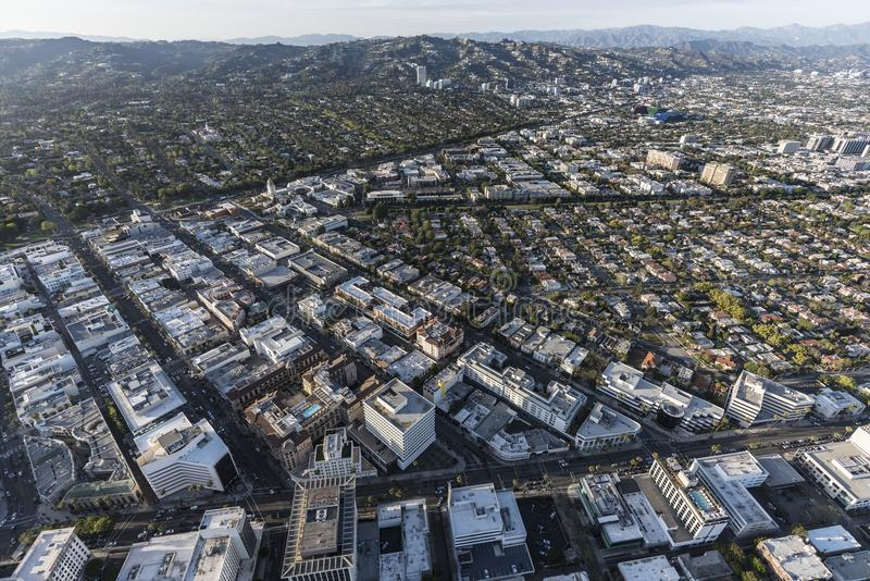 Beverly Hills California Business District antenn royaltyfri bild