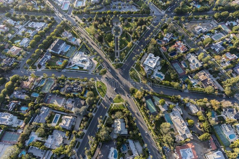 Beverly Hills California Six Way genomskärningsantenn arkivbild