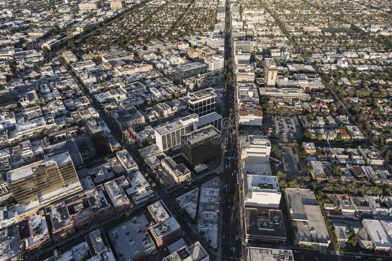 Beverly Hills California Wilshire Blvd antenn royaltyfria bilder