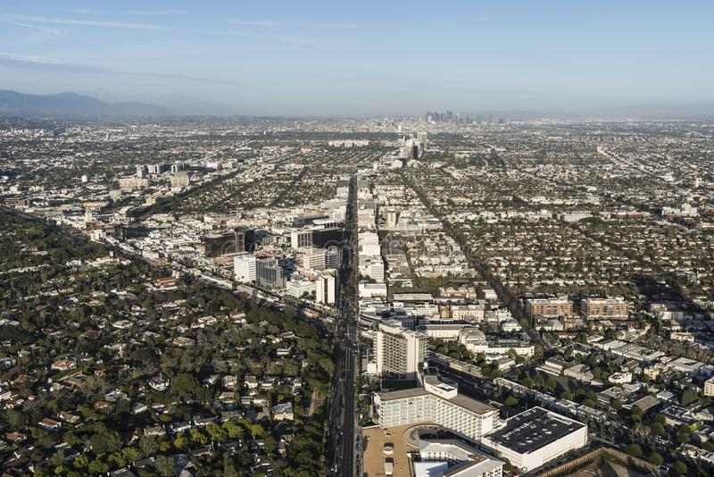 Beverly Hills California Wilshire and Santa Monica Blvds Aerial stock image