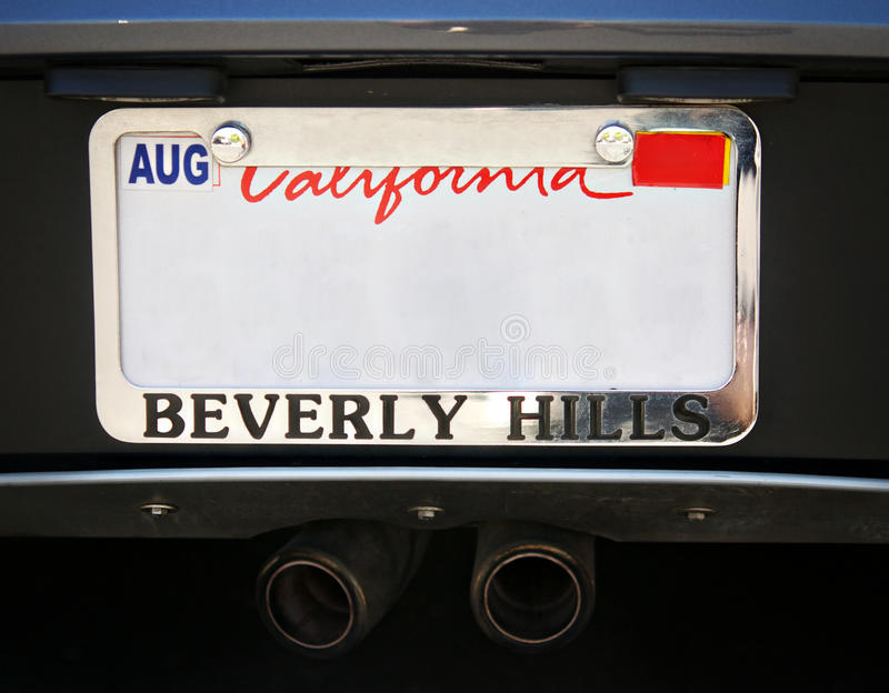 Beverly Hills Car license plate royalty free stock image